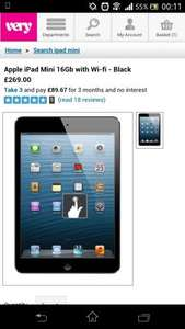 Apple iPad Mini 16Gb with Wi-fi - Black £239 plus 3.95p&p new very customers or £26.55 for 9months 0% Very.co.uk