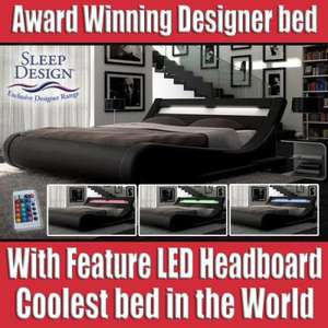Amazing Designer Bed With LED Light Multi Colour Head Board Black ebay  crazypricebeds  - £249