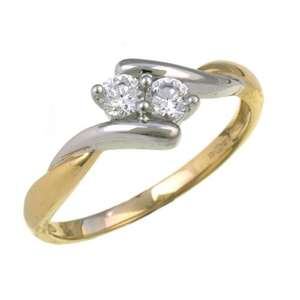 9ct Yellow Gold and Rhodium Plated Ladies' Cublic Zirconia Ring Size R @ amazon RRP: £177.00 Price: £42.31 £134.69 (76%) off
