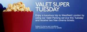 TODAY ONLY: 2 Free Adult Vue Cinema Tickets, Westfield (Shepherds Bush) LONDON valid until 31 January 2013 for every £10 Valet Parking at Westfield, London TODAY