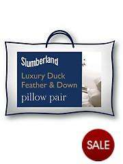PAIR of Luxury duck feather & down Slumberland pillows just £8.74 @ Very