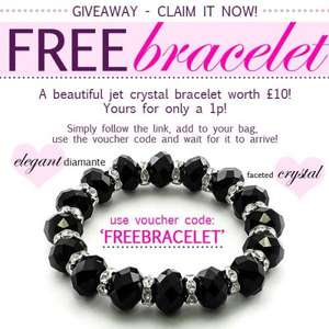 Treasure Box Jet Crystal Bracelet only 1p! (plus £1.50 p&p)