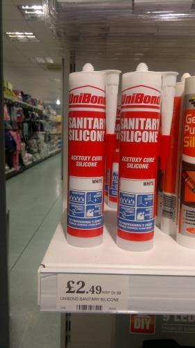 Home Bargains - Unibond Sanitary Silicone White Sealant 300 ml tube