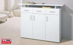 Height-adjustable inner shelves and 3 drawers sideboard with metal rails @ Lidl