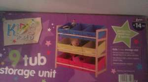 Kids 9 tub storage unit £14.99 at B&M