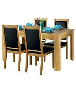 Texas Oak Dining Table and 4 Cushion Black Chairs at Argos. Was £449.99 NOW £149.99 + (£8.95 DELIVERY)