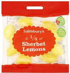 Retro sweets, retro price! Own brand 'Quarter of...' bags HALF PRICE = 30p @ Sainsburys (Includes: Sherbet Lemons, Rhubarb & Custard, Milk Bottles, Cola Cubes, Liquorice Comfits, Cough Candy, Jelly Beans, Foam Shrimps, Coconut Mushrooms, Pear Drops,