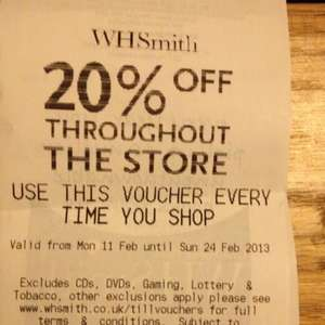 20% off WHSmith throughout the store