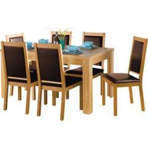 Argos Texas Oak Dining Table and 6 Cushion Brown Chairs £188.94 Deliverd with Code FURNSAVE
