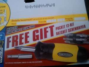 Free Pocket 12-Bit Ratchet Screwdriver With Mailing Flyer No Purchase Necessary@Toolstation