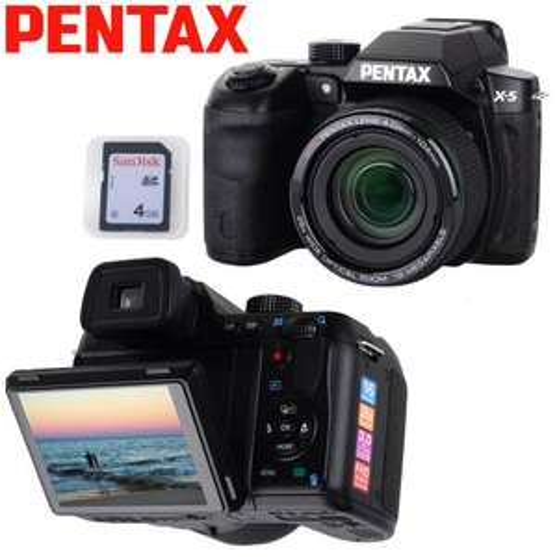 Pentax X5 16MP 26xzoom bridge camera 4GB SD & case £94.99 delivered from bid.tv