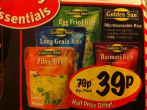 Microwaveable rice 250g only 39p @ lidl. Choice of white, egg fried, pilau or basmati