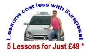 Driving lessons 5 hours for £49 @ SurePassdriving