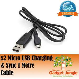 2 x Micro USB Data Cable Charger Lead 1M USB A Male To Micro B - For Blackberry HTC Samsung - 99p @ ebay/thegadgetjungle