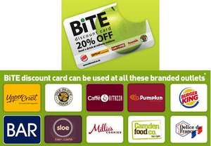 BITE - register for free card enabling 20% off at food and drink outlets across UK railway stations