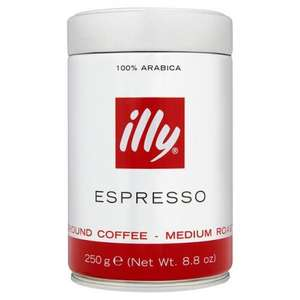 illy coffee beans/ground/filter half price at Tesco from £3.24 per 250g