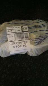 Live Oysters  6 oysters for £3 instore at Tesco