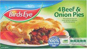 Birds eye beef & onion pie x 4  £1 @ tesco