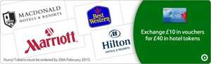 Tesco Clubcard Rewards - £10 voucher = £40 hotel voucher (inc Hilton, Marriott, Best Western, Mercure)