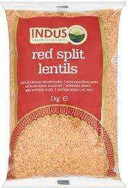 Red split lentils 2kg £2.99 Tesco