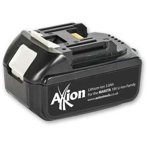Axion 18V Li-Ion 3.0Ah Battery Pack for Makita Cordless £39.95 + £4.95 delivery or buy 2 and qualify for free delivery.