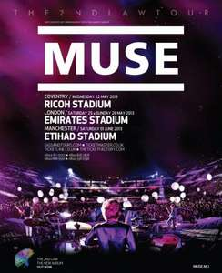 Muse @  Emirates Stadium, London - Sunday 26 May 2013 - Tickets For £34.76