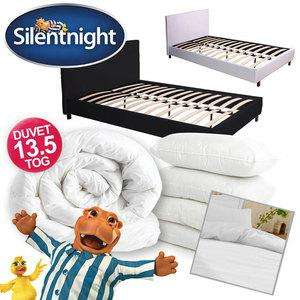 Dream Faux Leather Bed + Silentnight Bedding Bundle [Double Bed + 13.5 Tog Duvet & 4 Pillows] £133 Delivered @ eBay/uk-bedding