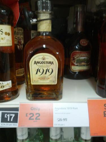 Angostura 1919 Premium Dark Rum 70cl £22 @ Sainsbury's