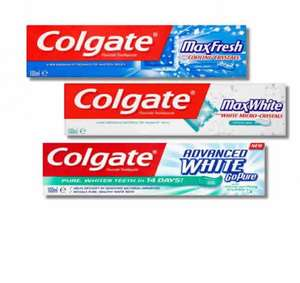 Colgate Toothpaste various 100ml half price £1.13 or 63p after TCB snap & save @Tesco