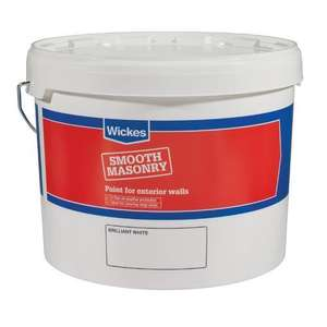 10 L smooth white masonry paint for £9.97 at Wickes