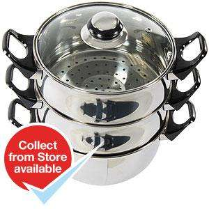 Stainless Steel 3 Tier Steamer £9.99 @ Home Bargains