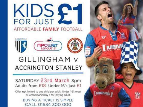 Gillingham v Accrington 23/03. Kids for a quid.