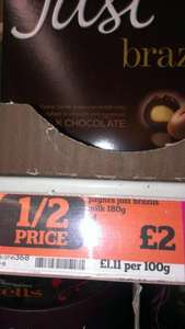 Payne's Just Brazils Milk Chocolate 180g - Sainsbury's - Was £4.00 reduced to £2.00 scanning at £1.20