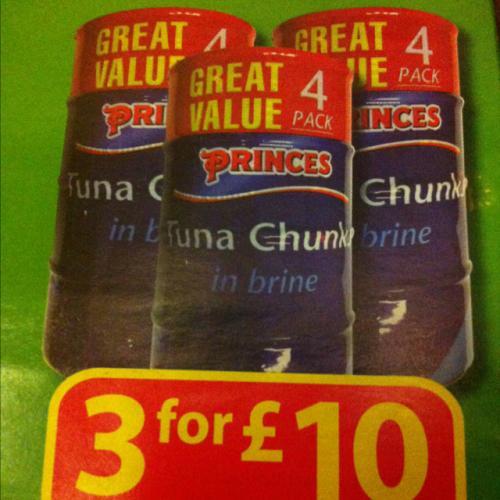 Princes tuna chunks in brine 12 tins for £10 @ Farmfoods