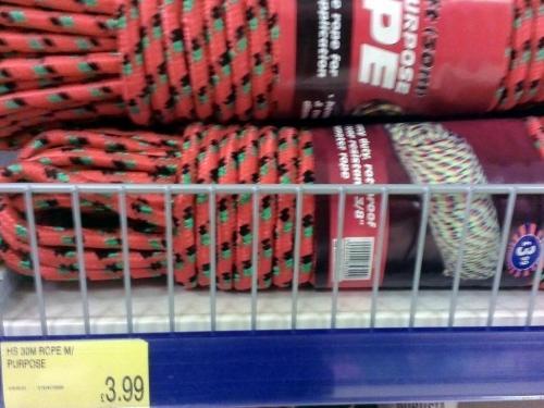 30 Metre Multi purpose rope £3.99 in-store B&M store
