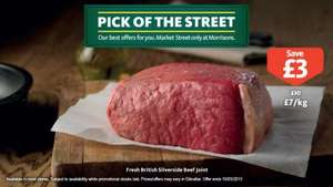 Fresh British Silverside Beef Joint now £7/kg at Morrison's