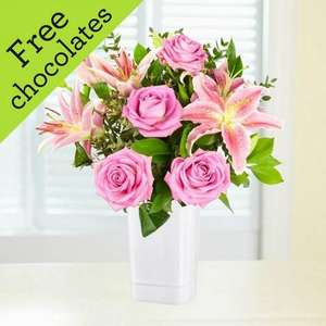 Lillies and roses(free chocs) delivered £14.99 @ Flowerfete