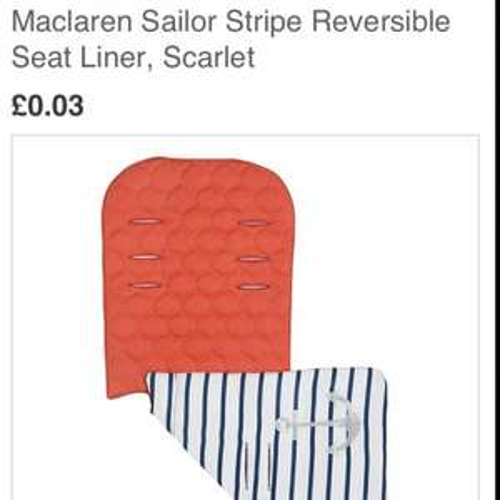 Maclaren sailor stripe buggy liner 3p @ John Lewis