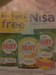 Fairy dishwasher tablets buy 1 get 2 free £9.99 at Nisa