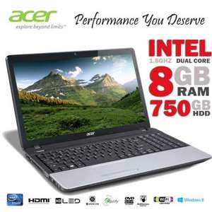 """Acer Travel Mate  P253-E 15.6"""" Intel Dual Core Celeron B830 8GB RAM 750GB HDD Laptop £274.98 Delivered from Dabs Outlet (Ebay)"""