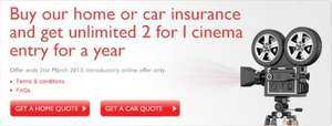 Unlimited 2 for 1 Cinema entry for 12 months with Car or Home Insurance @ Direct Line