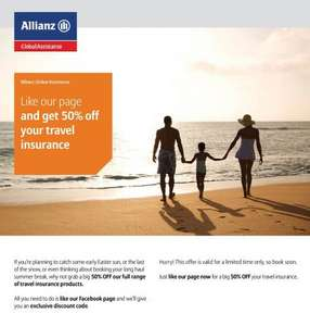 50% off travel insurance with Allianz Global Assistance