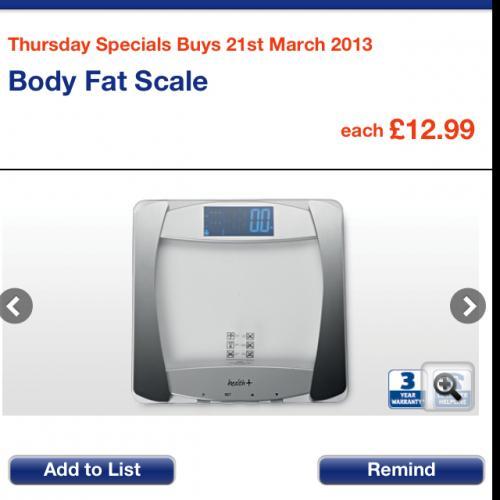Body fat scales £12.99 from aldi