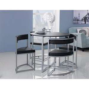 Hygena Milan Space Saver Table and 4 Chairs - Black or Light Oak only £88.94 Delivered @ homebase