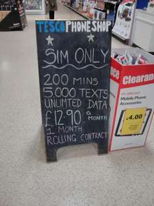 Tesco Phone Shop 200 mins, 5000 texts, unlimited data sim only £12.90 a month