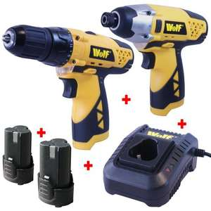 Wolf 12v Li-ion Cordless Impact Driver & Drill Driver kit + 2x Batteries & Charger was £114.98 now £54.98 @ eBay / UKhomeshopping FREE DELIVERY