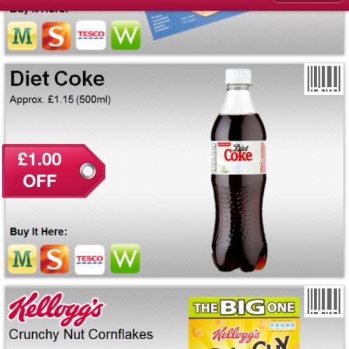 £1 off coca cola 500ml using shopitize tesco morrisons waitrose sainsburys