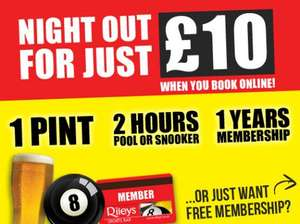 Riley Snooker & Pool A Pint 2 Hours Play & a Years Membership £10