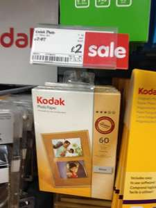 Kodak Photo Paper 60 sheets reduced to £2 (should be £7.97) @ Asda