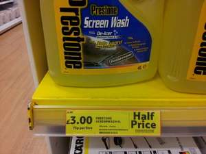 Prestone Screen Wash Ready to use 4L was £6 now £3  @ Tesco instore